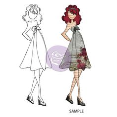Prima and Julie Nutting  Mixed Media Doll Cling Rubber Stamp KATE with High Waist Dress & Platform Shoes
