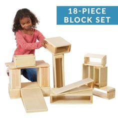 Hollow Block Set, STEM Education Wooden Building Blocks, 18-Pieces