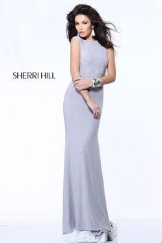 1615 Sherri Hill Silver Prom Dress