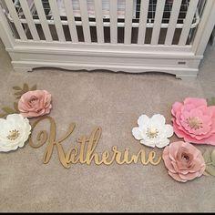 Baby Nursery Name Sign Gold Nursery, Nursery Name, Baby Name Signs, Flower Nursery, Baby Bedroom, Kids Bedroom, Bedroom Ideas, Baby Girl Names, Baby Girls
