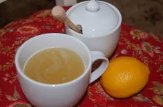 Mom's Soothing Drink for a Sore Throat - Squeeze fresh juice from half to a whole lemon,  1 cup very warm water, 1-2 TB of honey. Stir and serve