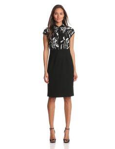 Anne Klein Women's Print Top Solid Bottom Dress