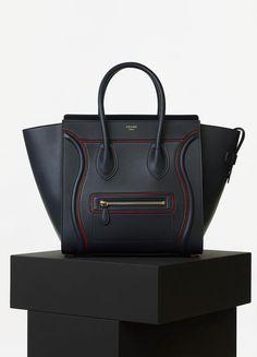 bb04a0eec4f9 Mini Luggage Handbag with Interstice in Navy Blue Smooth Calfskin - Céline