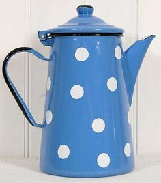 Blue and white polka dot coffee pot
