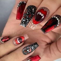 Vampy Halloween Nails Design #vampyart #glitternails ★ It's high time to choose if your Halloween nail designs are going to be scary or cute. Whether you have acrylic or gel nails, check out these easy nailart ideas, including black coffin nails with blood drips, purple calavera skull and witch claws designs. #halloween #halloweennails #halloweennaildesigns