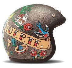 "DMD Vintage - ""Romeo"" - vintage Jethelm - Tattoprints auf Metal Flake"