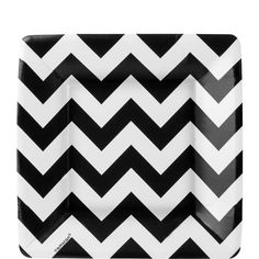 Black & White Chevron Dessert Plates 18ct