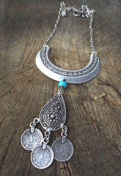 Bohemian Jewelry // Boho Necklace // Half Moon Boho Ethnic Drop Necklace with Turkish by NadzJewelryBox, $25.00