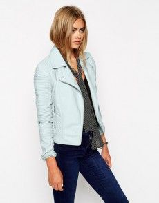 d51cef9d10 JASMIN- i could so see you rocking this baby blue biker jacket for fall.  ASOS Biker With Structured Shoulder And Multi Stitch