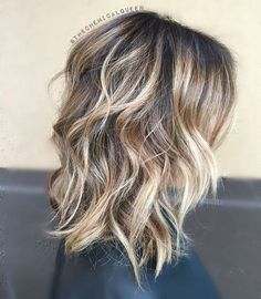 Balayage Hairstyles for Thick Hair - Curly, Wavy Lob Hair Cuts for Women