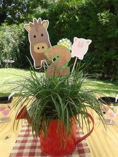 Farm birthday party table centerpieces! See more party ideas at CatchMyParty.com!
