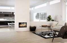 double sided stove with low wall Log Burner Fireplace, Double Sided Fireplace, Wood Burner, Wood Fireplace, Fireplaces, Wood Burning Stove Insert, Wood Burning Fireplace Inserts, Double Sided Stove, Open Plan Kitchen
