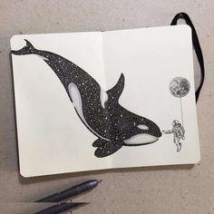 Les animaux celestes de kerby rosanes 10 baleine new painting ideas animals colour ideas painting Calavera Simple, Simple Skull Drawing, Whale Drawing, Whale Sketch, Whale Tattoos, Killer Whale Tattoo, Orca Tattoo, Killer Whales, Arte Sketchbook
