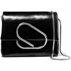 3.1 Phillip Lim Alix micro patent-leather shoulder bag (£465) via Polyvore featuring bags, handbags, shoulder bags, 3.1 phillip lim, black, patent handbags, patent leather purse, patent leather shoulder bag, patent purse and shoulder handbags