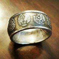 This is a big ring for big hands!  Nearly an ounce of .999 Fine Silver Mexican Libertad. See more like this in my Etsy Shop http://ift.tt/1Ty9Y8i
