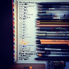 Wonderful visual of each pen, pencil, and marker.  Texture and depth of writing and drawing instruments.