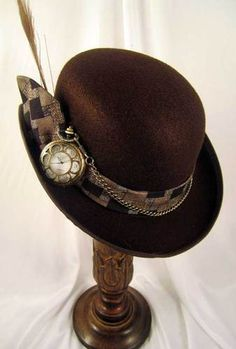 Steampunk Men's Brown Derby Hat with Pocket Watch....