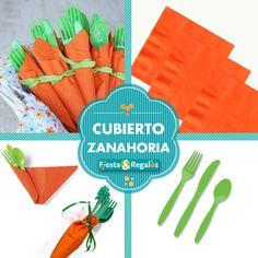 Cubiertos decorados como si fueran una zanahoria de pascua