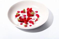 Textures of Beetroot gazpacho, marinated prawns, horseradish ravioli