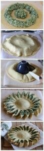 Sunny Spinach Pie Recipe   The Homestead Survival-make it easy..pillsbury french bread dough, thawed frozen spinach, make it on a silpat, top with sunflower seeds in the center! Delicious