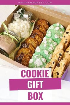 The best gift is a handmade gift with love! I'll show you how to make three different types of cookies, give you an idea what else you can put in the box, and I'll show you how simple it is to decorate your box. Make the cookie gift box this holiday season for your family and friends. Cookie Gift Boxes, Cookie Gifts, Pie Box, How To Make Cookies, Christmas Goodies, Cookie Dough, Baking Recipes, Madness, Sweet Treats
