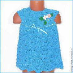 Купить Платье, панамка и туфельки-пинетки для девочки - бирюзовый, однотонный, детская одежда, вязаная одежда