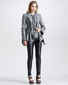 Fringed Tunic, Fringed Blazer & Marine Leather Pants by McQ Alexander McQueen at Neiman Marcus.