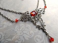 Art Nouveau Necklace Gothic Necklace Vintage Red Necklace Sterling Silver Necklace Art Deco Necklace Filigree Necklace- Rapture  Feel so special in
