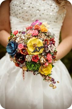 Modern Bouquets  You don't have to say it with flowers anymore. Some creative couples have come up with some unique and beautiful alternatives: