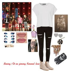 """""""Seeing 1D on jimmy Kimmel live!"""" by tiffany-london-1 ❤ liked on Polyvore featuring River Island, Carolee and GUESS"""