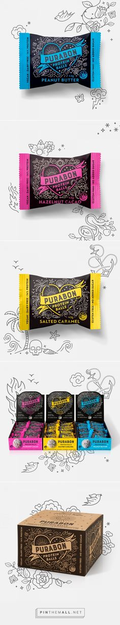 Purabon Protein Balls packaging design by Dessein - https://www.packagingoftheworld.com/2018/02/purabon-protein-balls.html