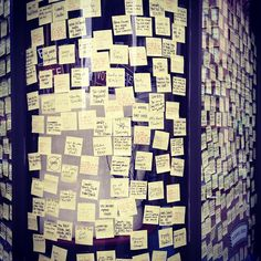 New Yorkers thank first responders and share their anger at Sandy via Post-It notes at Union Square in Manhattan.