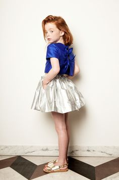Beautiful metallic silk top and skirt for girlswear spring 2015 at My Little Dress Up