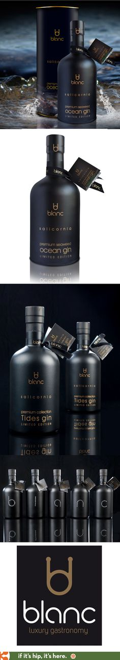 Salicornia's Limited Edition Seaweed Ocean Gin and Tides Gin for Blanc Gastronomy. The matte black bottles are studded with Swarovski crystals on the backside. PD