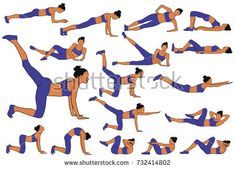 Set of colored vector silhouettes of woman practicing fitness exercises down on the floor in horizontal position. Slim girl doing sport workout. Girl Silhouette, Color Vector, Fitness Exercises, Silhouettes, Royalty Free Stock Photos, Floor, Slim, Workout, Sport