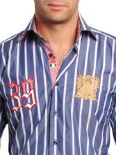 Chemise Homme Bleue à Rayures Doublure Rouge à Carreaux Blason Or