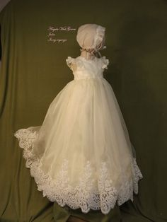 204e78c52 Julia Christening gown set by Angela West Handcrafted Heirloom gown set  ivory