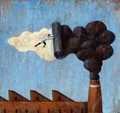 No pollution painting Steve Adams, Save Environment, Save Our Earth, Environmental Art, Land Art, Art Plastique, Satire, One Pic, Illustration Art