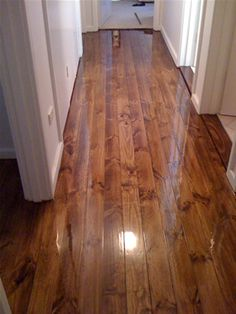 Eventually floors redone in walnut stain Wood Floor Stain Colors, Dark Wood Floors, Pine Floors, Hall Flooring, Wooden Flooring, Brick Companies, Build A Fireplace, Yellow Houses, Walnut Stain