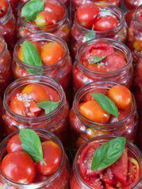 Mise en bocaux de tomates cerise