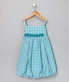 Gingham Dress for Girls   Aqua Gingham Flower Bubble Dress - Toddler & Girls