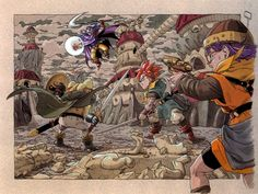 Concept art of Crono, Frog, Lucca fighting Magus from Chrono Trigger by Akira Toriyama