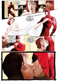 "Yelena Belova (as the Black Widow) and Daredevil, drawn by Scott Hampton in ""Black Widow: Breakdown"", written by Devin Grayson and Greg Rucka."