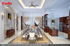 Nội thất phòng bếp kết hợp với phòng ăn không gian rộng rãi thoáng đãng, lịch lãm và sang trọng