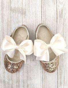 1634cb99d003 GOLD Rock Glitter Maryjane with IVORY SATIN bow for flower girls