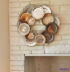 repurposed silver plate and tray wreath