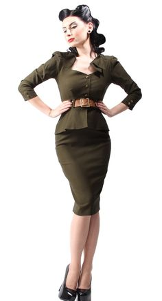 Inspired by the 1940 military forces, the Cadet Dress from Stop Staring! is guaranteed to garner attention. #BlameBetty #PinUp #StopStaring