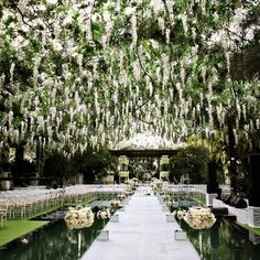 Go on, be amazed by this wedding ceremony idea! Photo: Axioo Photography via Bridal Guide These wedding ceremony ideas below prove that you can go all out with the first half of your day, and still have a reception that's just as beautiful. Wedding Ceremony Ideas, Wedding Walkway, Ceremony Decorations, Wedding Themes, Wedding Events, Wedding Reception, Decor Wedding, Budget Wedding, Wedding Table