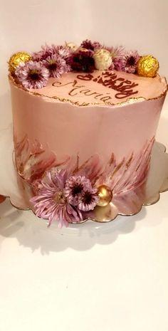27th Birthday Cake, Strawberry Birthday Cake, Birthday Cake With Flowers, Happy Birthday Mom Cake, Chanel Birthday Cake, 2 Tier Birthday Cakes, 19th Birthday, Cake Decorating Frosting, Cake Decorating Designs