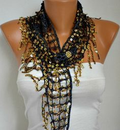 Gold Sequin Scarf Floral Women Shawl Scarf by fatwoman on Etsy
